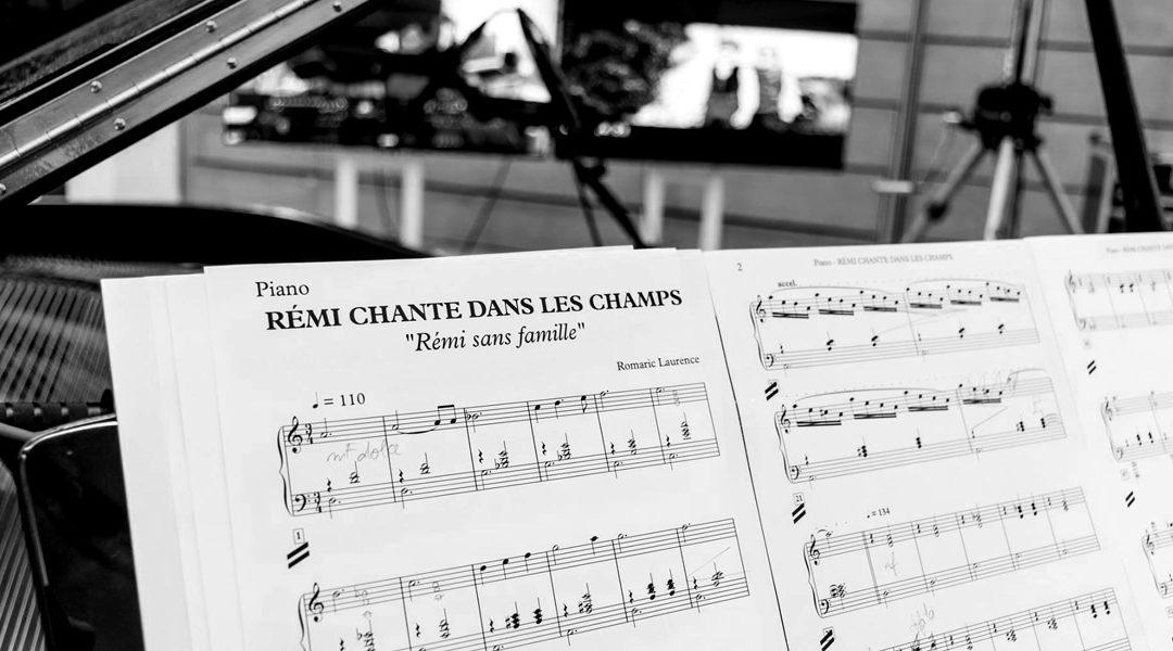 Séance d'enregistrement du piano pour le film Rémi sans famille